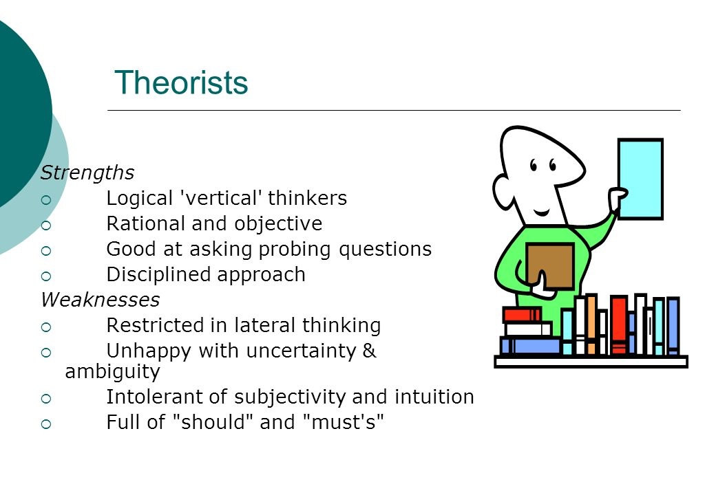 Theorists Strengths Logical vertical thinkers Rational and objective