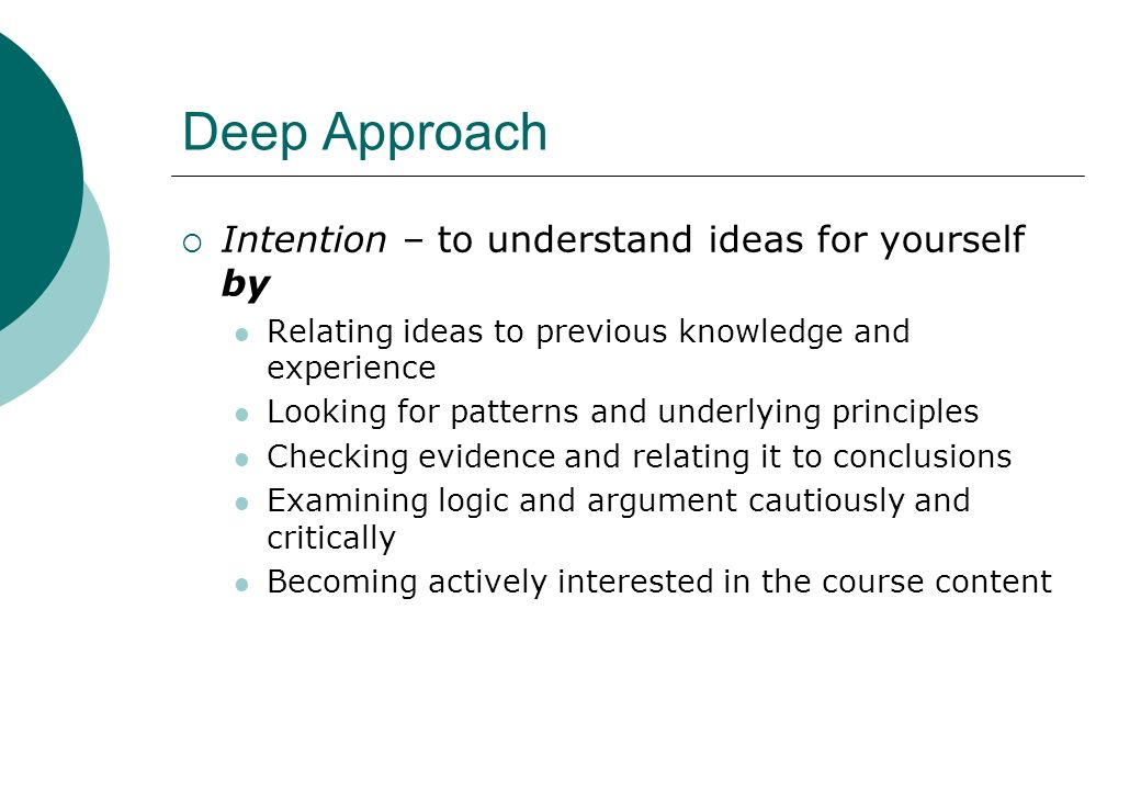 Deep Approach Intention – to understand ideas for yourself by
