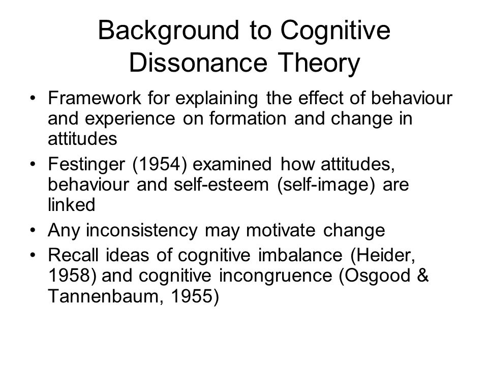 Background to Cognitive Dissonance Theory
