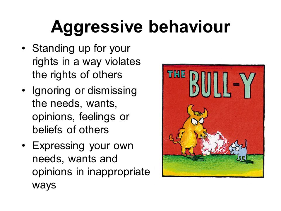 Aggressive behaviour Standing up for your rights in a way violates the rights of others.