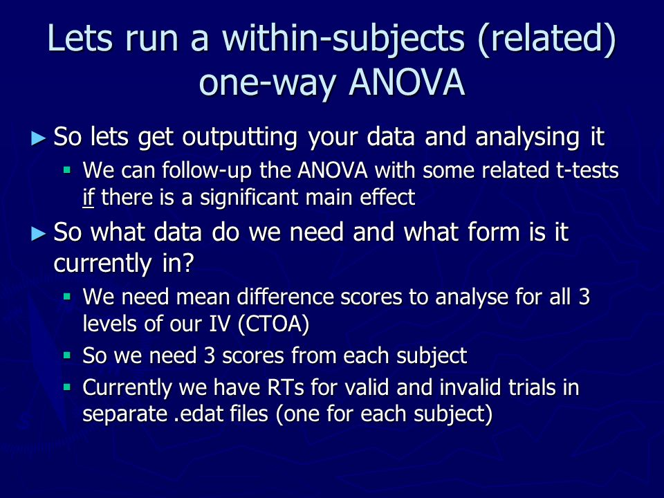 Lets run a within-subjects (related) one-way ANOVA