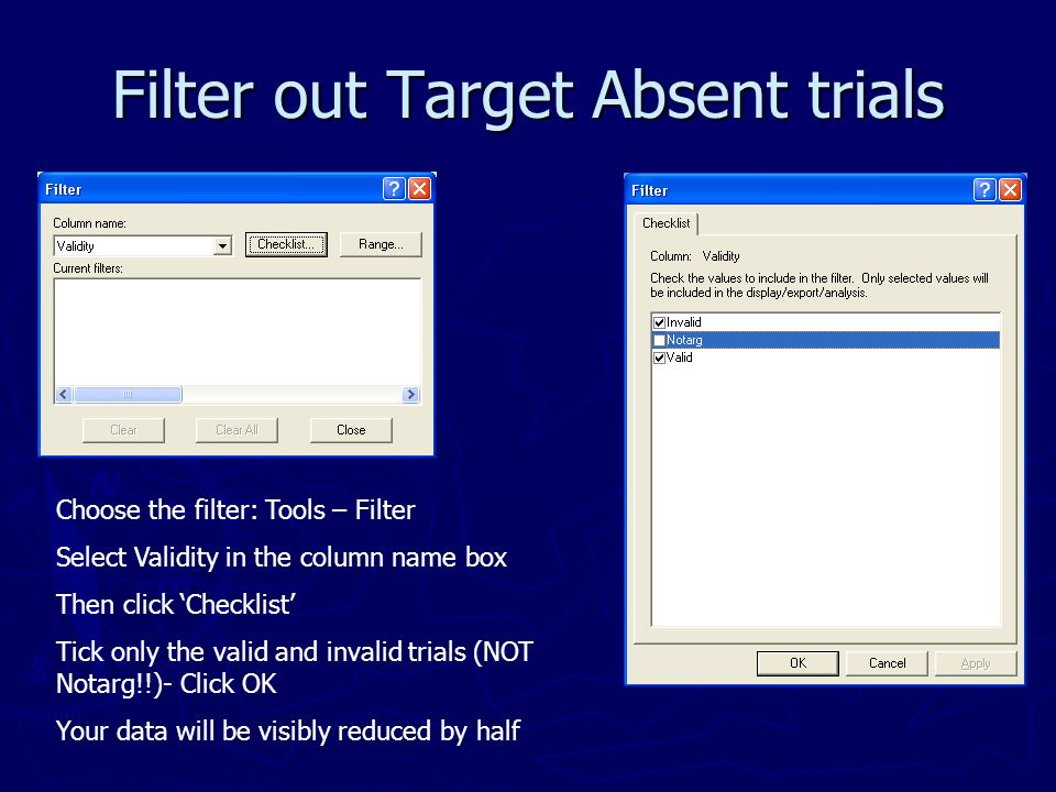 Filter out Target Absent trials