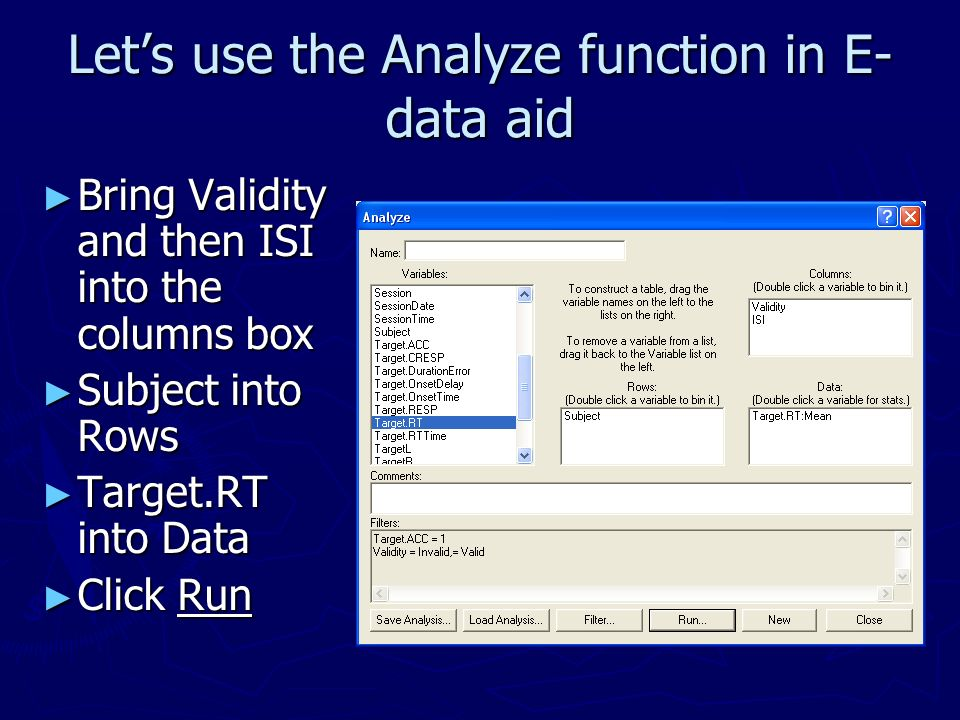 Let's use the Analyze function in E-data aid