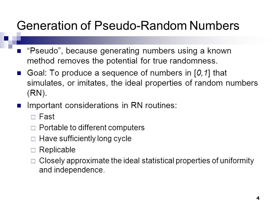 pseudo random number generator example