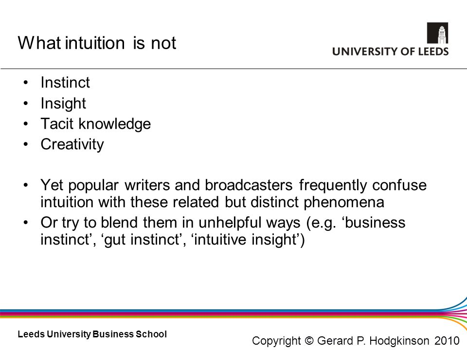 What intuition is not Instinct Insight Tacit knowledge Creativity