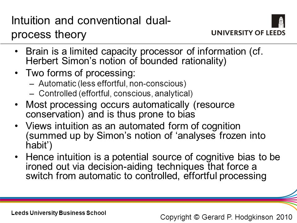 Intuition and conventional dual-process theory