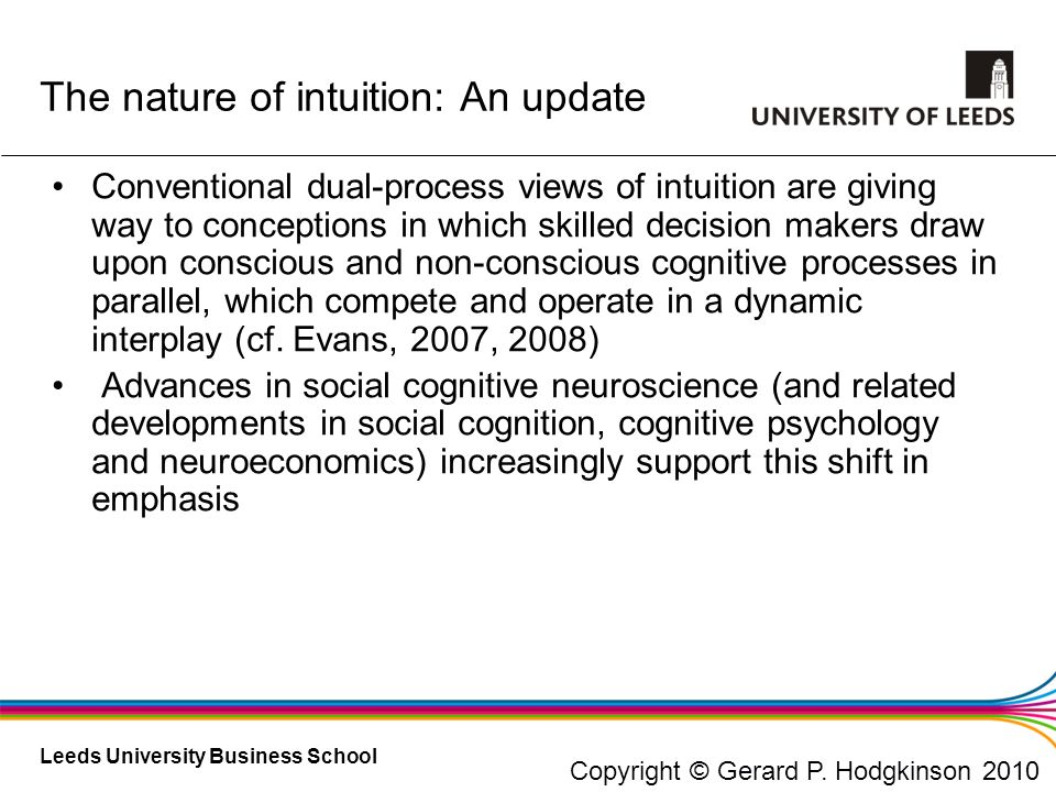 The nature of intuition: An update
