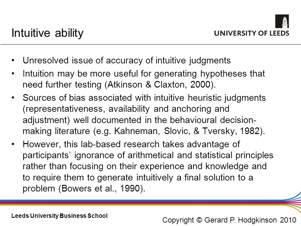 Intuitive ability Unresolved issue of accuracy of intuitive judgments