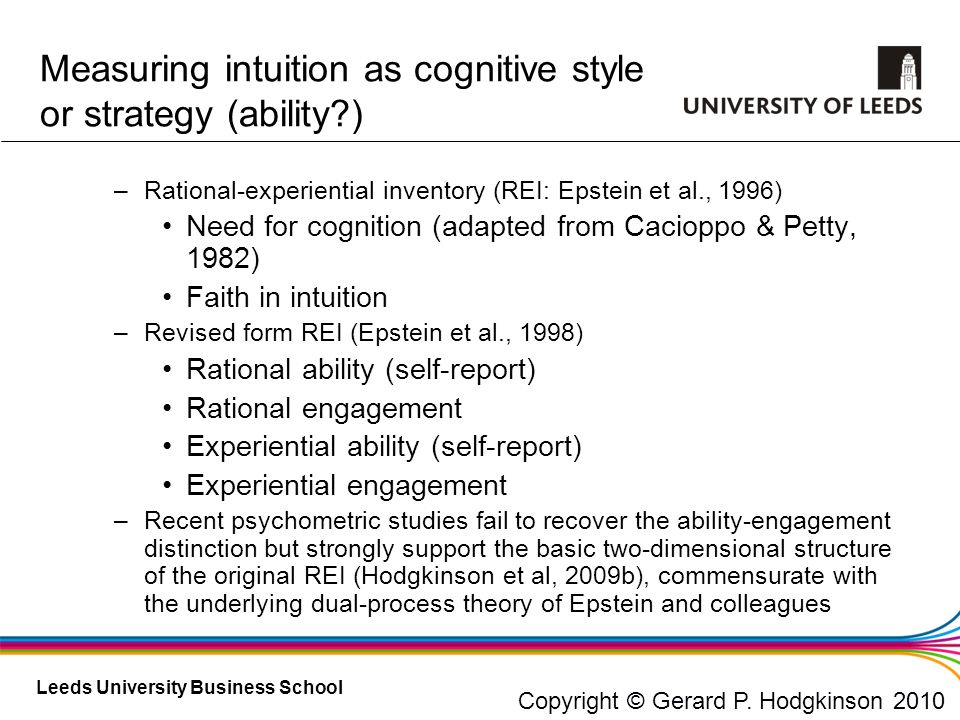 Measuring intuition as cognitive style or strategy (ability )