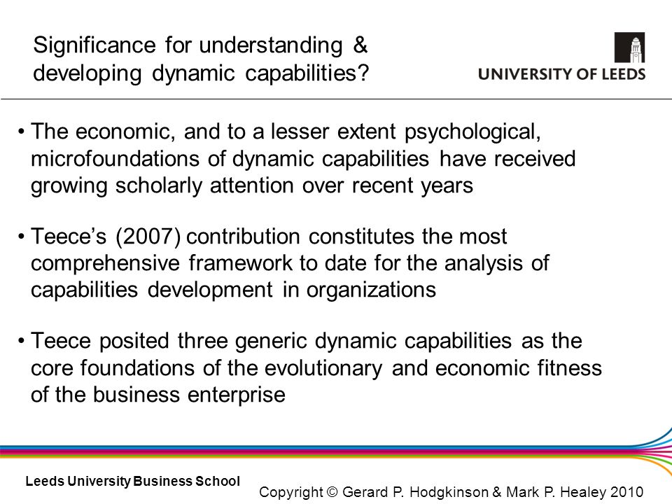 Significance for understanding & developing dynamic capabilities
