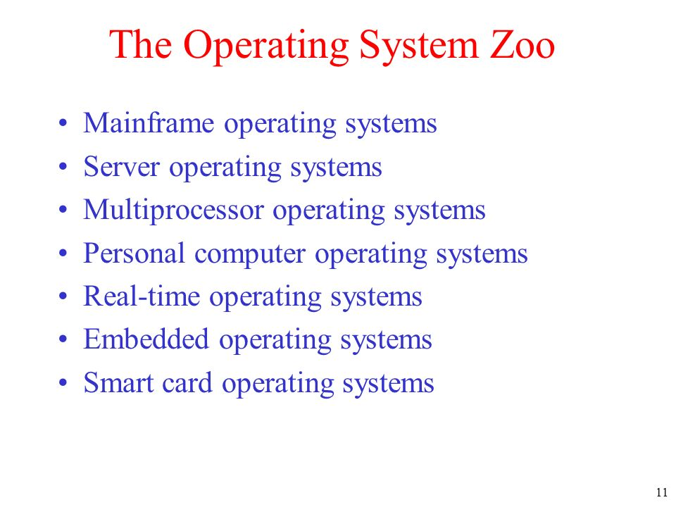 The Operating System Zoo