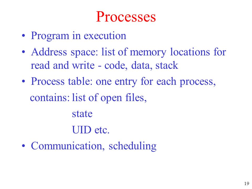 Processes Program in execution