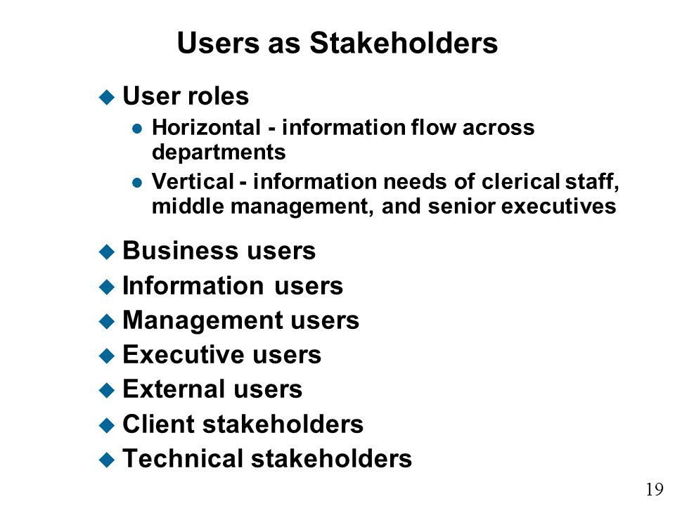 Users as Stakeholders User roles Business users Information users