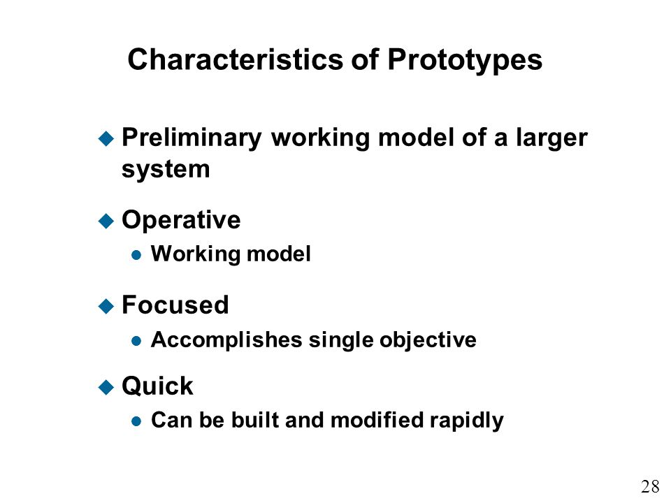 Characteristics of Prototypes