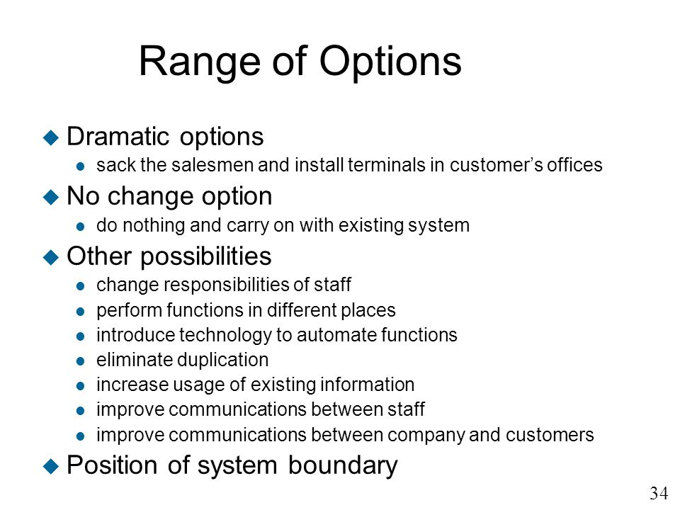 Range of Options Dramatic options No change option Other possibilities