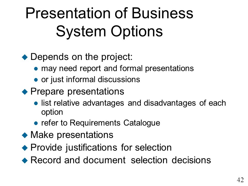 Presentation of Business System Options