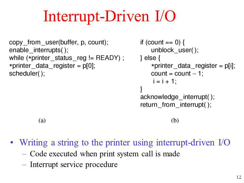 Interrupt-Driven I/O Writing a string to the printer using interrupt-driven I/O. Code executed when print system call is made.