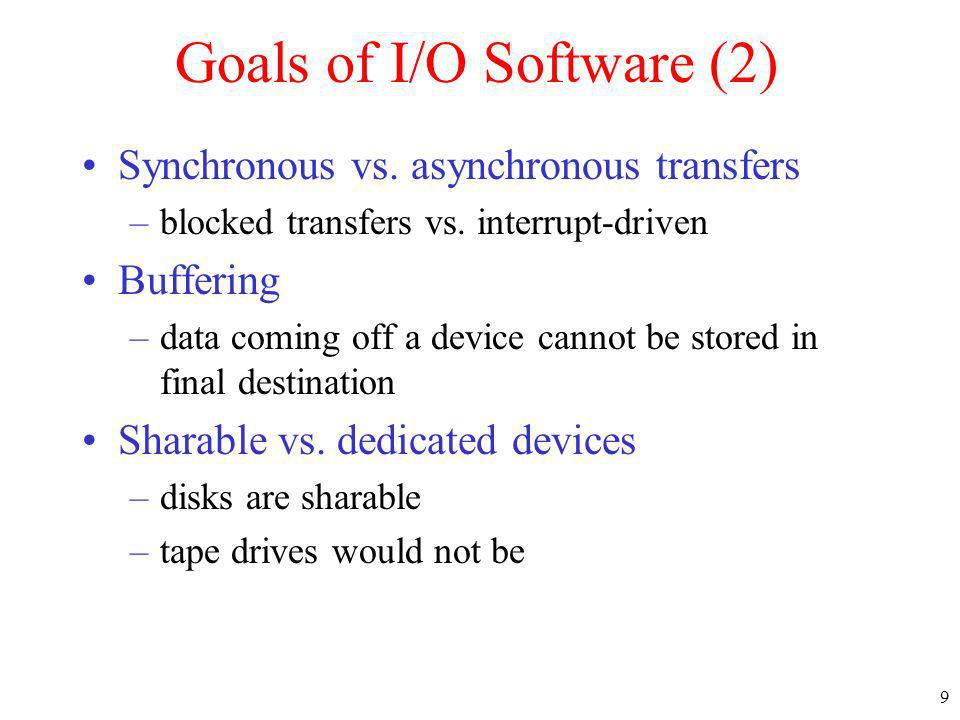 Goals of I/O Software (2)