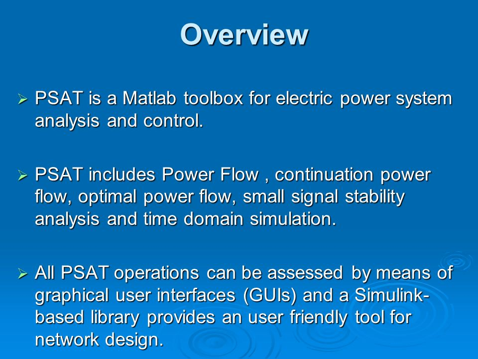 PSAT (Power System Analysis Toolbox) By : H  Lotfizad  - ppt