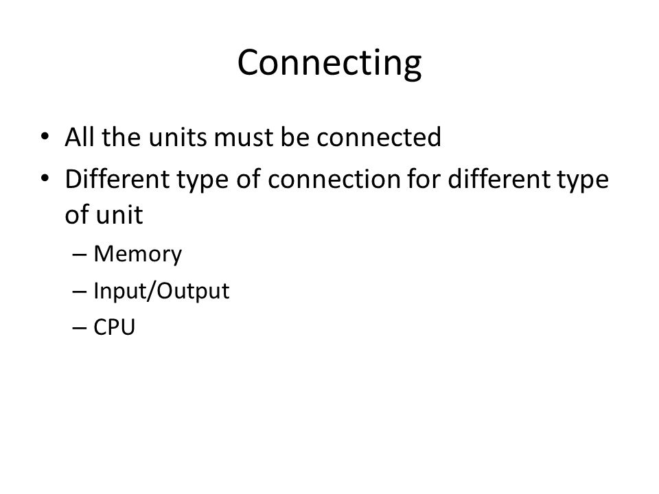Connecting All the units must be connected
