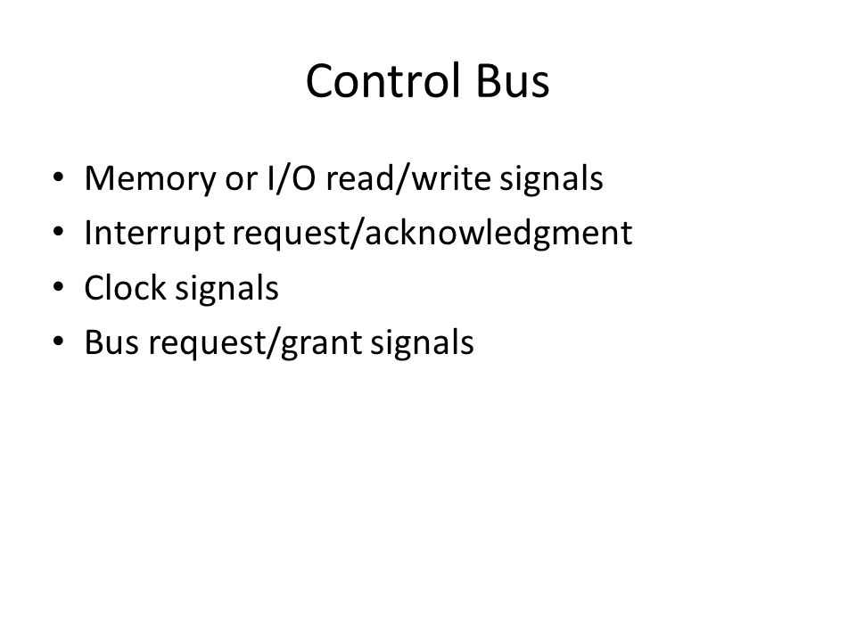 Control Bus Memory or I/O read/write signals