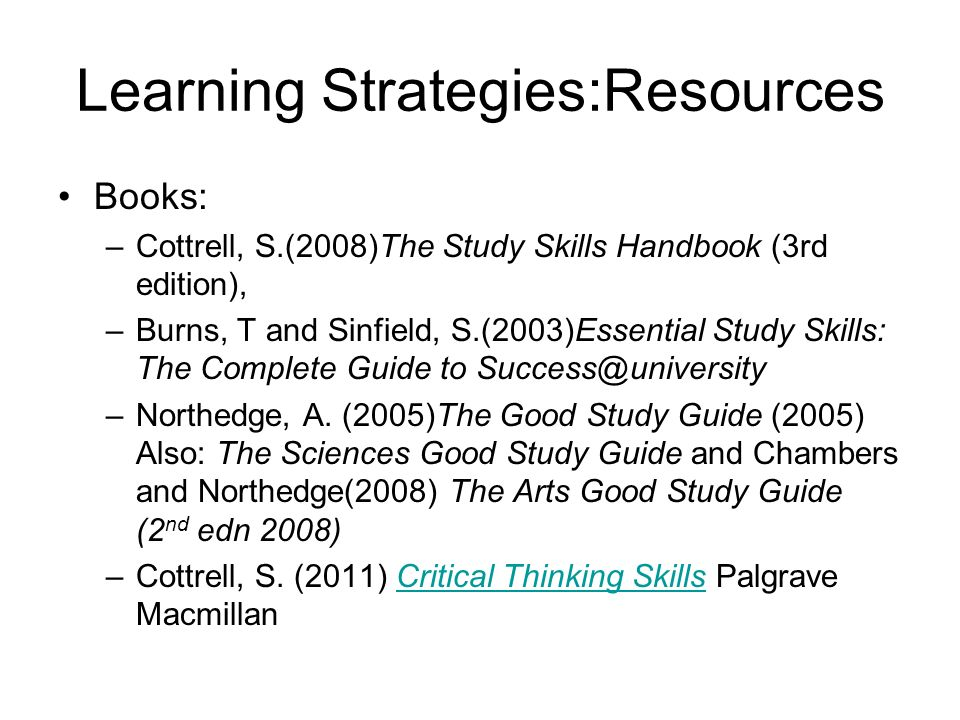 Learning Strategies:Resources