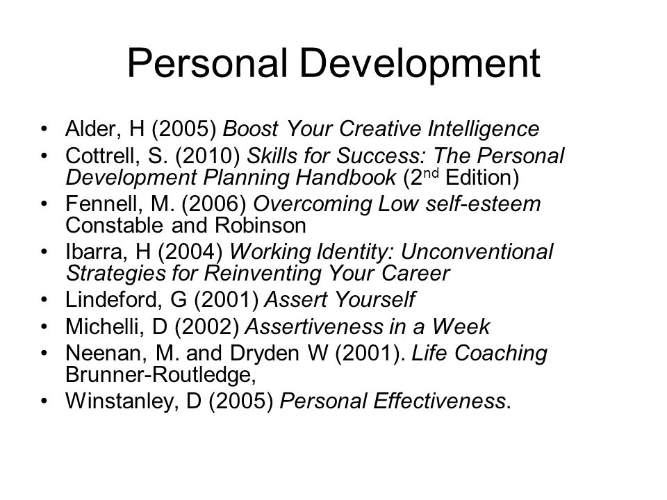 Personal Development Alder, H (2005) Boost Your Creative Intelligence