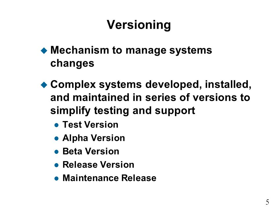 Versioning Mechanism to manage systems changes