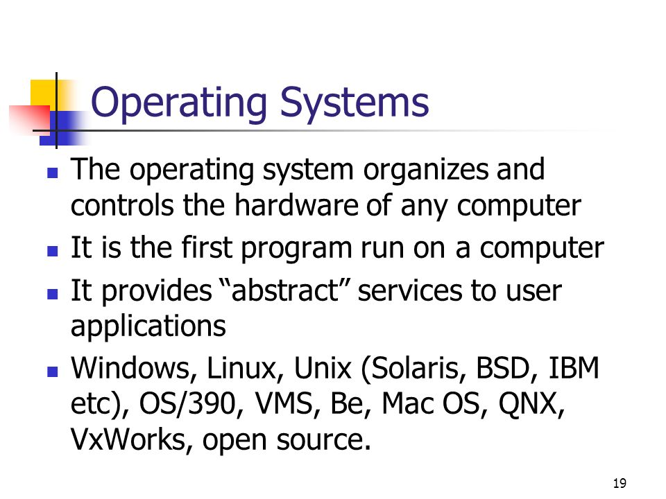 Operating Systems The operating system organizes and controls the hardware of any computer. It is the first program run on a computer.