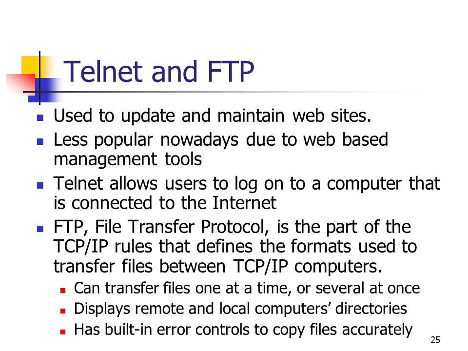 Telnet and FTP Used to update and maintain web sites.