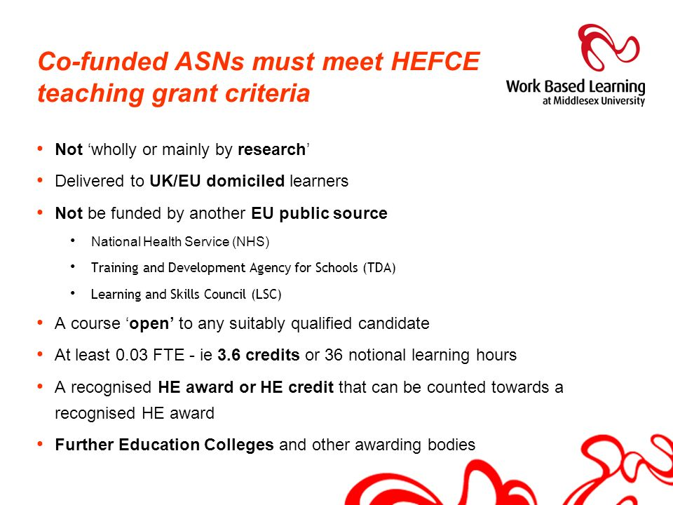 Co-funded ASNs must meet HEFCE teaching grant criteria