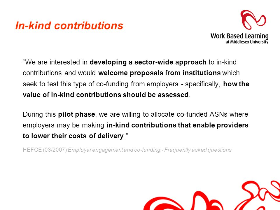In-kind contributions
