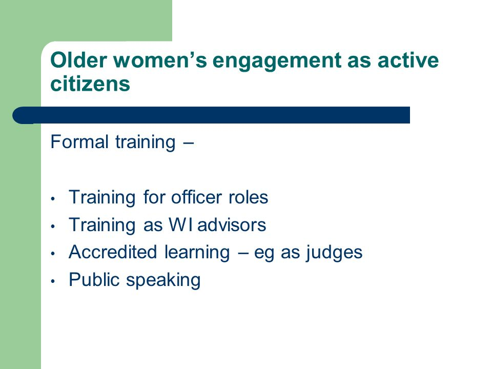 Older women's engagement as active citizens