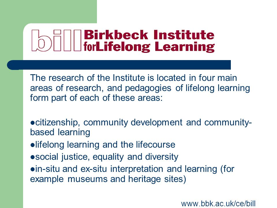 The research of the Institute is located in four main areas of research, and pedagogies of lifelong learning form part of each of these areas: