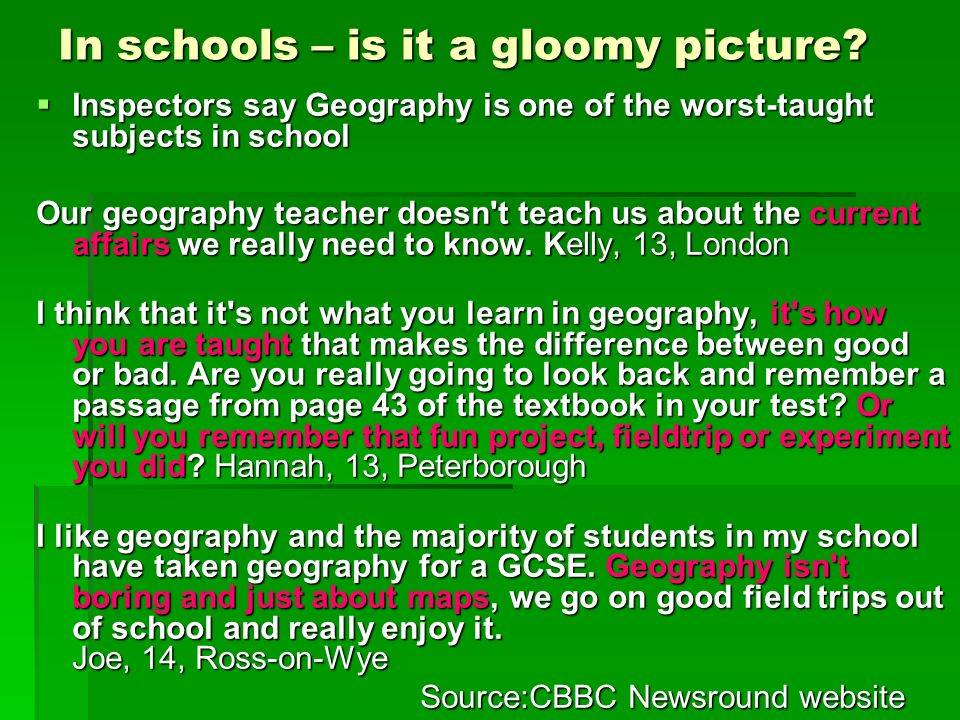 In schools – is it a gloomy picture