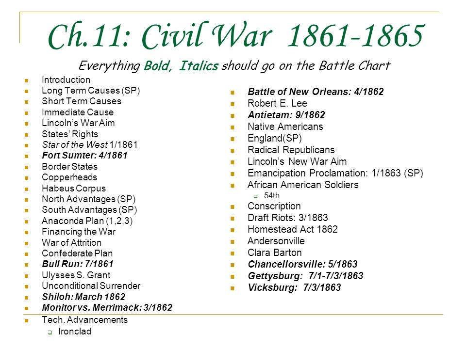 Ch 11 Civil War Everything Bold Italics Should Go On The Battle Chart