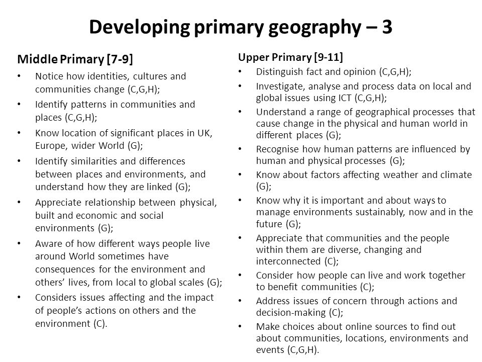 Developing primary geography – 3
