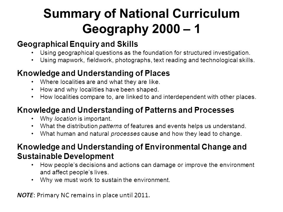 Summary of National Curriculum Geography 2000 – 1