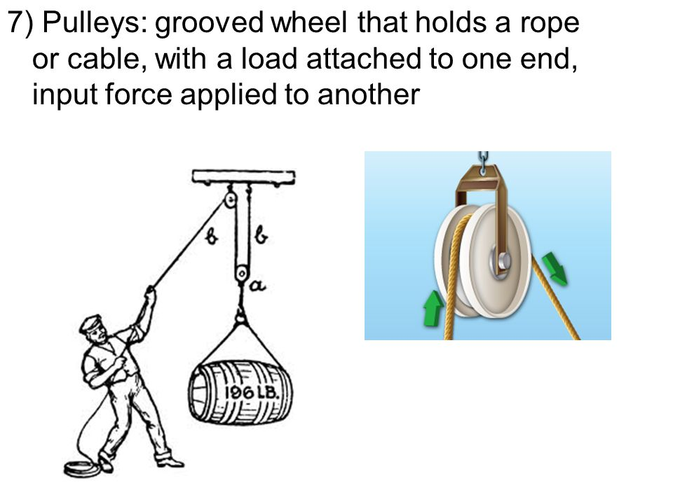 7) Pulleys: grooved wheel that holds a rope or cable, with a load attached to one end, input force applied to another