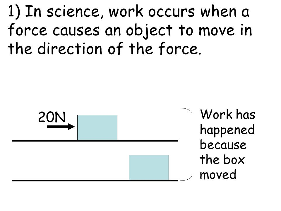 1) In science, work occurs when a force causes an object to move in the direction of the force.