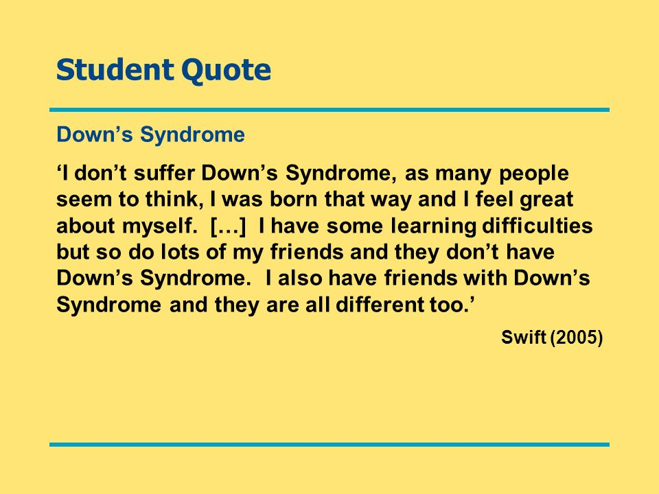 Student Quote Down's Syndrome