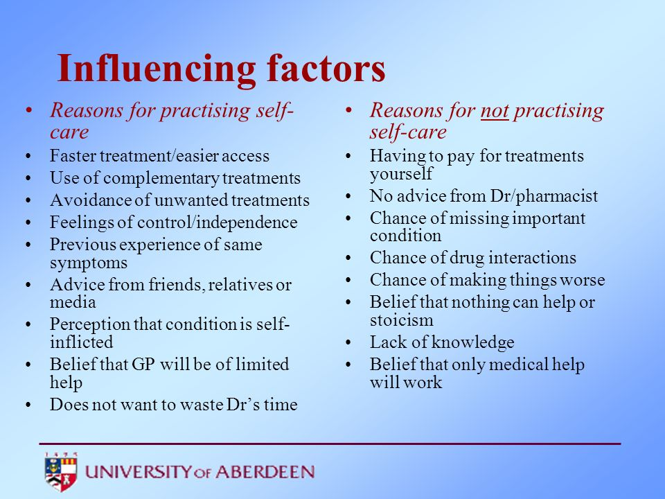 Influencing factors Reasons for practising self-care