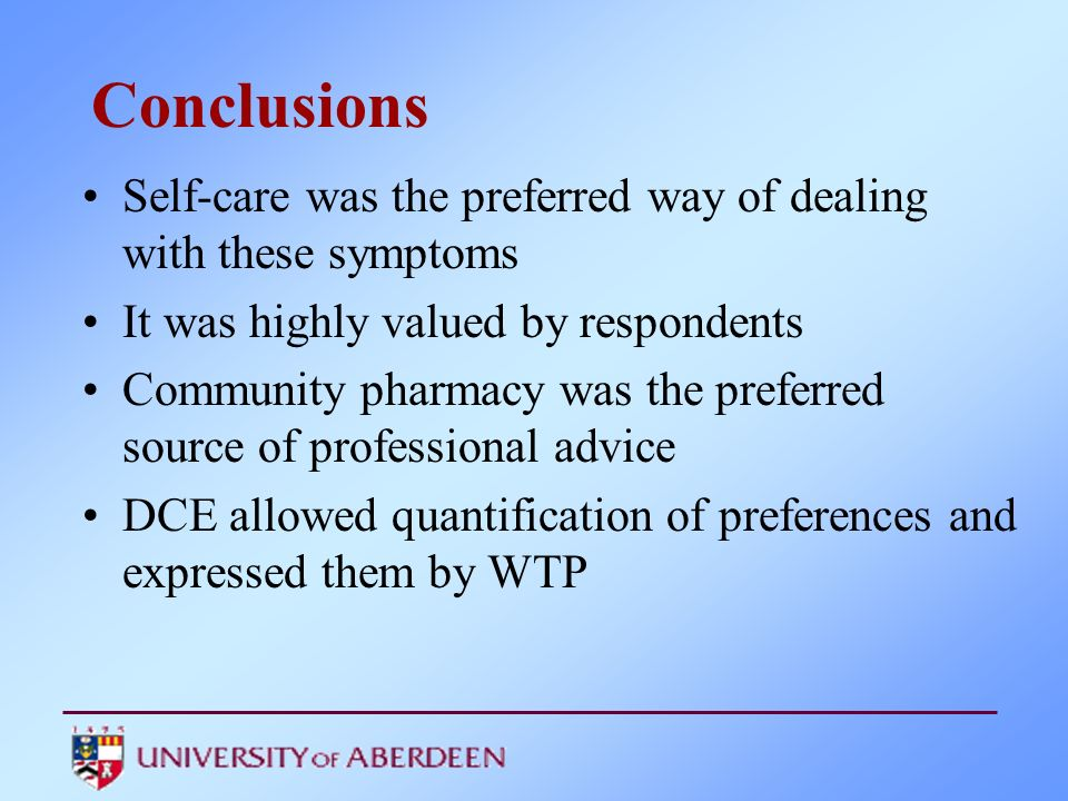 Conclusions Self-care was the preferred way of dealing with these symptoms. It was highly valued by respondents.