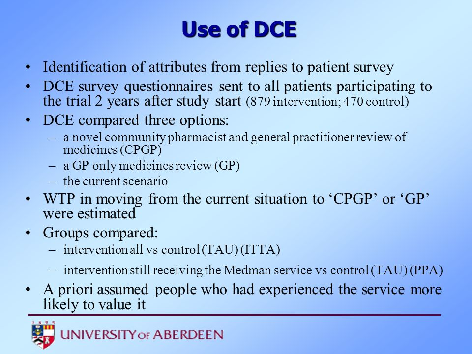 Use of DCE Identification of attributes from replies to patient survey