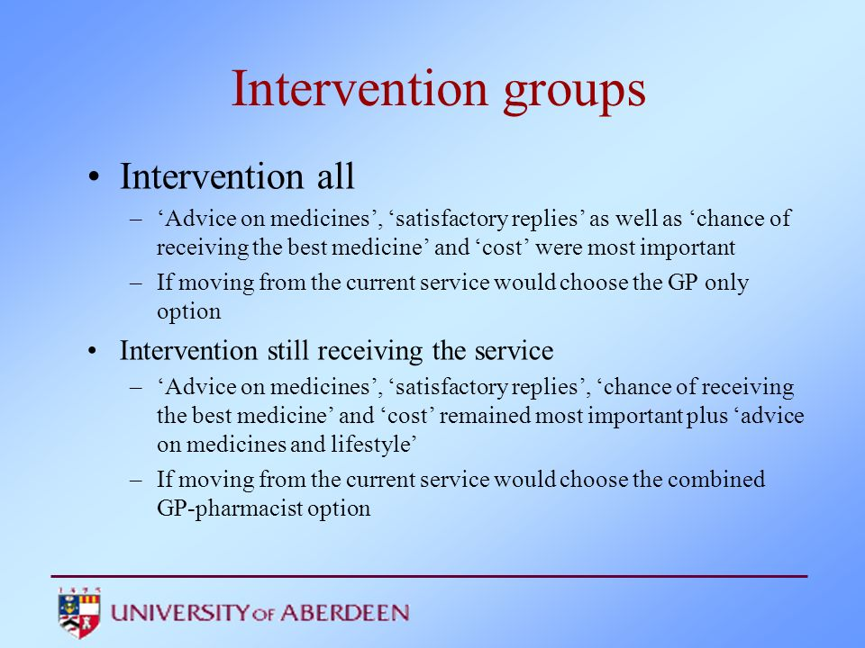 Intervention groups Intervention all