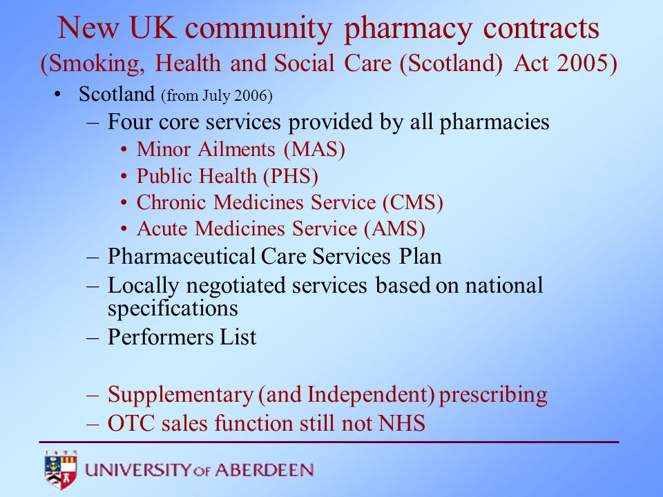 New UK community pharmacy contracts (Smoking, Health and Social Care (Scotland) Act 2005)