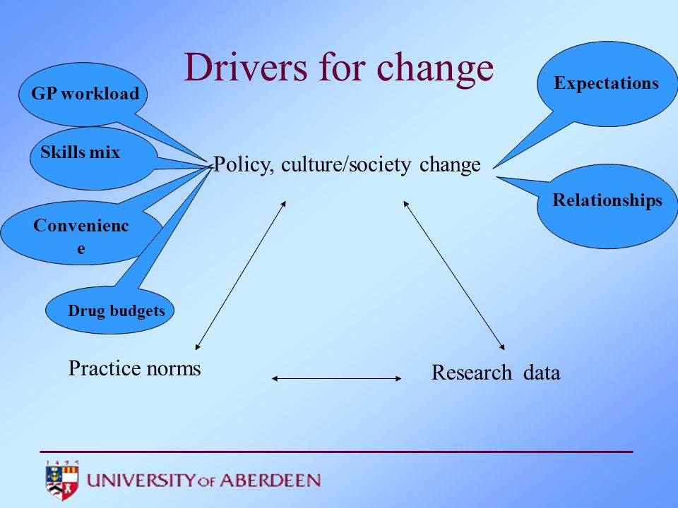 Policy, culture/society change