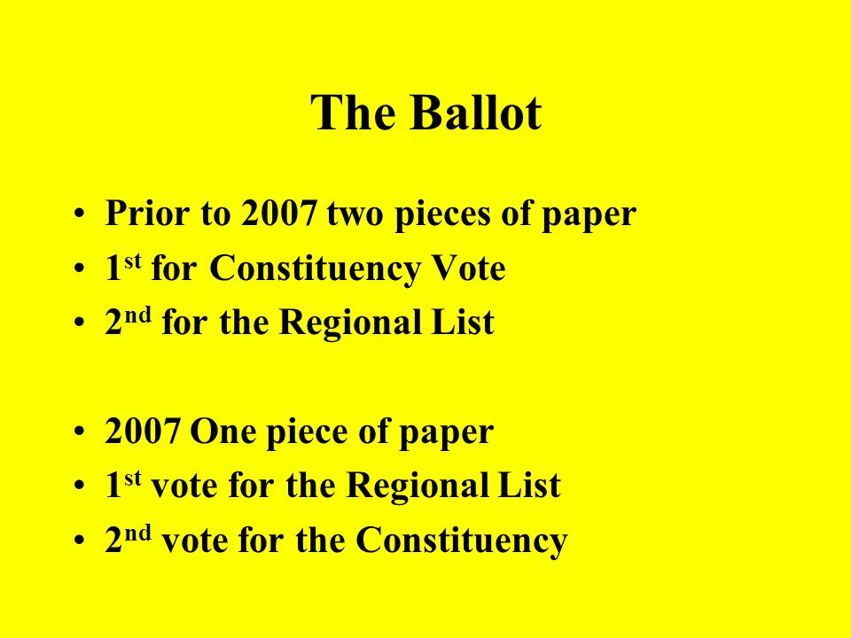 The Ballot Prior to 2007 two pieces of paper 1st for Constituency Vote