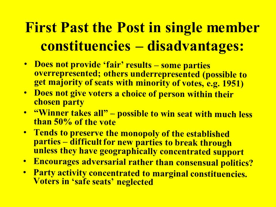 First Past the Post in single member constituencies – disadvantages: