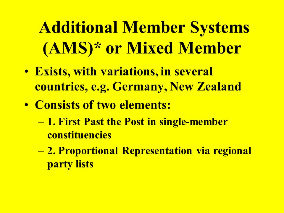 Additional Member Systems (AMS)* or Mixed Member